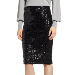 Halogen midi sequin skirt black S